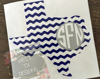 Texas Monogram | Chevron Monogram | Chevron Decal | Yeti Decal | State Decal | Car Decal | Personalized | Notebook Decal |