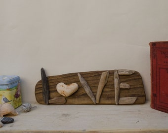 driftwood love art..valentines love gift...rustic, eco freindly wall decor...reclaimed wood wall hanging..love coastal decor..pebble art