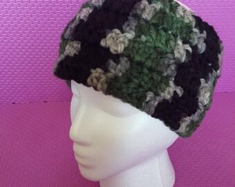 Green, black, and grey crocheted Headband