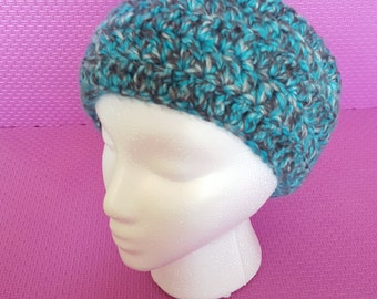 Turquoise and grey crocheted Headband