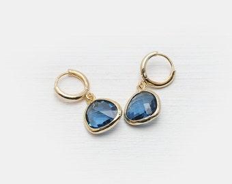 Minicreolen dark blue glass