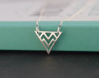 Silver Chevron Triangle necklace. Sterling Silver Chevron Triangle necklace. Geometric necklace. Layering necklace. Minimalist jewelry
