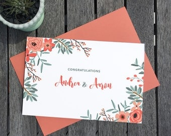 Custom Wedding Congratulations – Greeting Card, Personalized, Congrats, Handlettering, Love, Wedding, Engagement, Floral, New House, Job