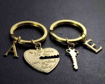 He who holds the key gold keychain, heart key , his and her keychain, boyfriend girlfriend gift, valentines day gift, 2 keychains ON SALE