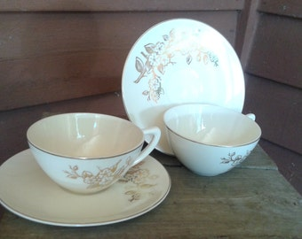 White and Gold Cup and Saucers, Set of 2, Knowles