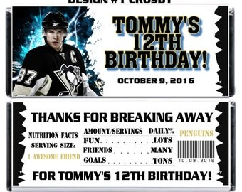 Printable Hockey Birthday Candy Bar Wrappers 1.55 oz. Hershey's Chocolate NHL Pittsburgh Penguins