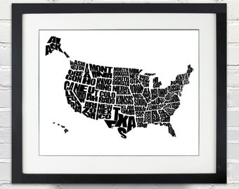 USA Word Map - Black and White - INSTANT DOWNLOAD - A Typographic Word Map of The United States of America - 8x10, Printable Gift