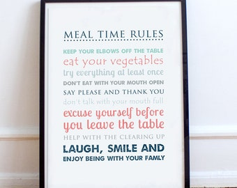 Meal Time Rules Typographic Print, A4