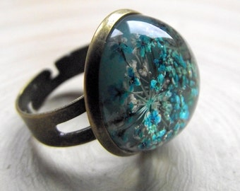 Ring 18 mm turquoise dill flowers in resin