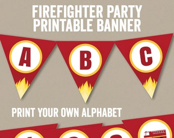 Firefighter Bunting Printable, Any phrase, diy alphabet fireman party decor, fire engine party bunting, banner for fireman diy party,