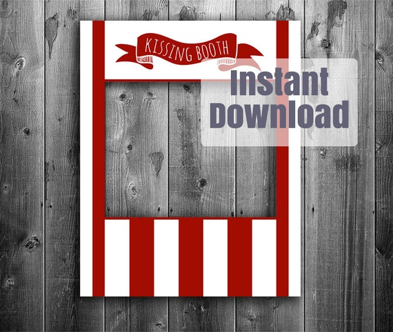 Vintage Kissing Booth Printable Photo Booth Frame Valentines