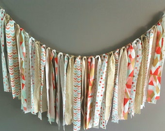Fabric Tie Banner/ Mint, Coral and Gold Fabric Banner/ Highchair Banner/ Nursery Decor/ Party Decor/Photo Prop/ Garland Swag/ Nursery Banner