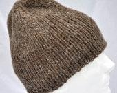 Handspun Alpaca Hat -- hand knit using soft rose gray fiber. Beanie, watch cap, ski cap, toque, soft, warm.