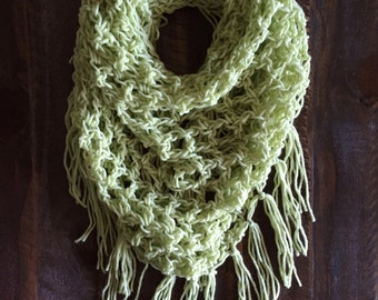Light Green Triangle Fringe Scarf