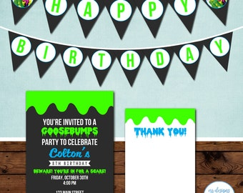 Goosebumps Party Package, Goosebumps Birthday Party Invitation