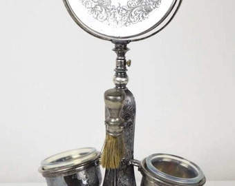 Antique Silver Plate Shaving Stand