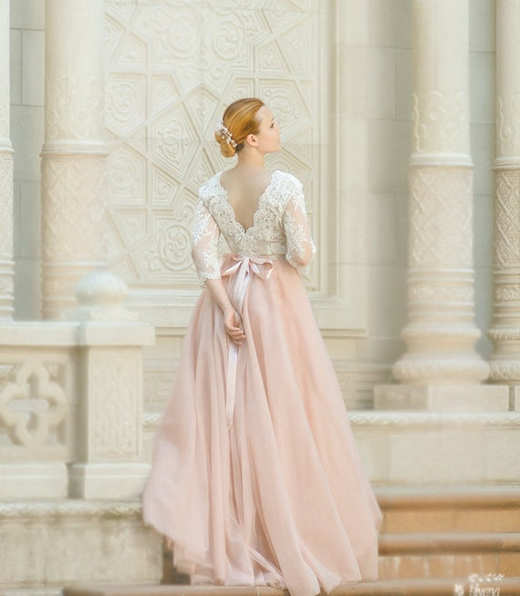 Pink Wedding Dresses Princess : Pink wedding dress princess sleeves