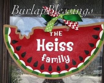 Hand-Painted Burlap Watermelon Door Hanger