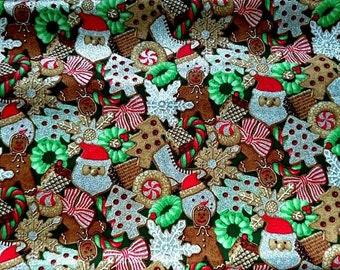 100% cotton fabric for Christmas, Santa, gingerbread, snow flakes shiny
