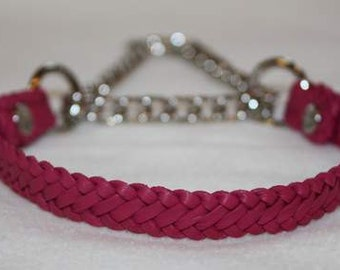 Kangaroo leather martingale collar  **Pink 12 inch** (4)