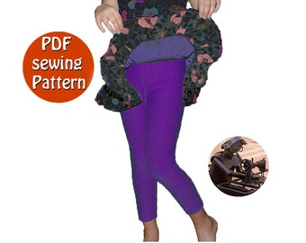 PDFstyle sewing kit tutorial, Skintight leggings pattern for girl and teenager, Instant download pattern DIY
