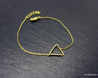 triangle, bracelet, gold