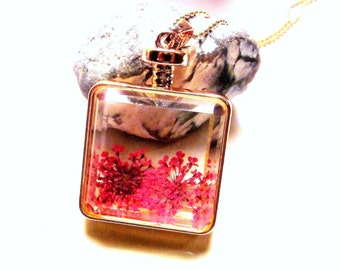 Cherry Blossom necklace genuine dill flower pendant glass bottle