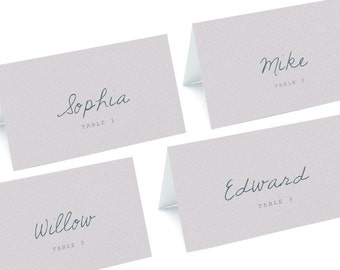 Place name cards in dusty lilac. Wedding stationery cards. Folded place name cards.