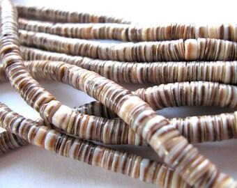 shell heishi, 24 inch strand, 5mm - 424