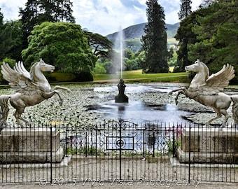 Ireland Photography – Fountain at the Powerscourt Gardens near Wicklow Mountains