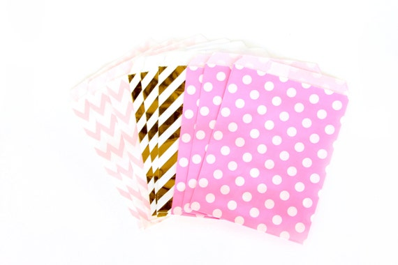 Strawberry Sangria Treat Bags in Chevron Dot and Stripe , Pink and Blush Treat Bags, Silver Popcorn Glitter Girls Birthday Paper