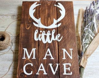 Woodland nursery decor boy, Little Man Cave Sign, Deer Antlers wall decor, Hunting Nursery Art Baby Boy nursery ideas, Baby Boy gift unique.