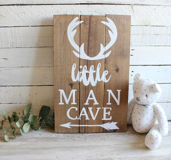 Man Cave Nursery : Woodland nursery decor boy little man cave sign deer antlers