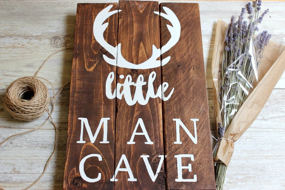 Lil Man Cave Ideas : Woodland nursery decor boy little man cave sign deer antlers