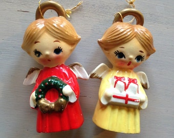 Two Vintage Angel Ornaments