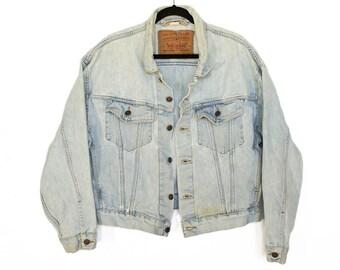 Vintage M Levi's Trucker Denim Jacket / Mens Levi's Light Blue Jean Jacket / Men's Size Medium Levis Denim Jacket
