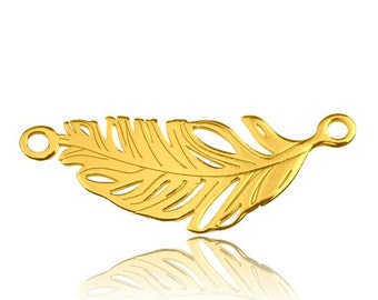 Gold-plated connector Feather Silver 925