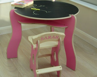 kids desk and chair on special offer with reversable chalk board top and tough lacquer finish