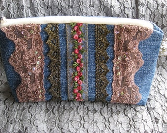 Clutch Purse, Make-up bag, Cosmetic bag, upcycled denim, cotton fabrics, sequin trim, guipure trim, lined, padded, zippered, interior pocket