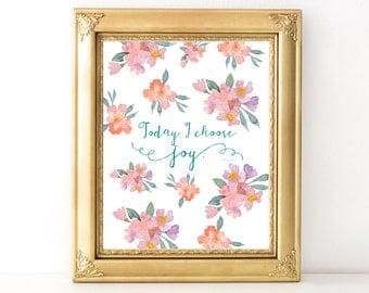 I Choose Joy Print / Every Day Spirit / Inspirational Quote / Wall Art Illustration / Encouraging Quote / Dorm Decor / Joy Quote