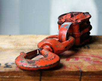 Orange Industrial Hook and Pulley,Painted Cast Iron Block and TackleIndustrial Plant Hanger