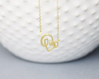 Gold Open Heart Love Charm Necklace Simple and Modern Everyday Necklace Dainty Necklace