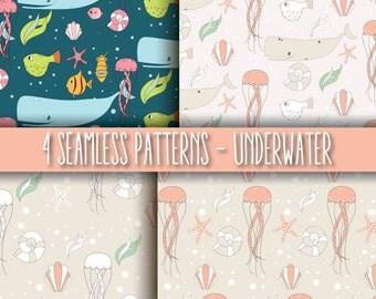 4 Seamless Patterns - Underwater