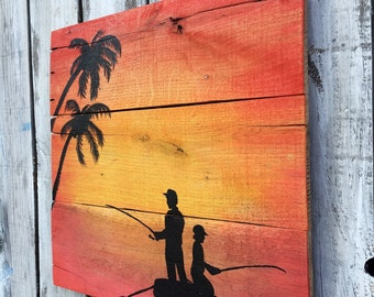Wood Sunset Palm Fishing Painting Reclaimed Wood Ocean Beach Wood Art, Father and Son Art