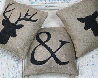 Buck & Doe Pillow Set, Burlap Pillows, Rustic Decor, Decorative Pillows