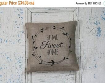 25% OFF SALE Home Sweet Home, Burlap Pillow, Rustic Decor, Decorative Pillow