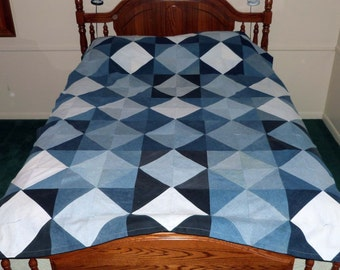Upcycled Blue Jean Denim Quilt with flannel back, 62 x 85 (part# 1014)