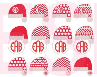 Santa hats circle monogram frames, Christmas svg files, SVG, DXF, EPS, use with Silhouette Studio and Cricut Design Space. Santa hat svg