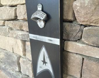 Wooden Sign Star Trek  Bottle Opener