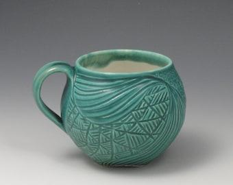 Blue green hand carved OOAK mug